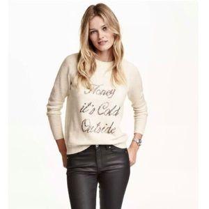 H&M Sweater Honey It's Cold Outside Alpaca Cream